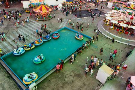 Neptun Jupiter Olimp, Romania - July 8, 2017: People having fun at the local amusement park situated on the beach resort in Neptun, Constanta, Romania, Europe Editorial