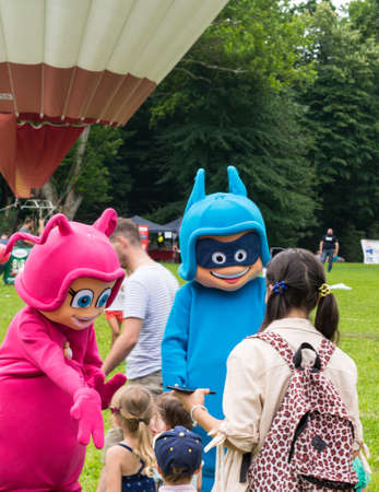 Mogosoaia, Ilfov near Bucharest, Romania - July 07, 2018: Itsy and Bitsy mascots entertain children at the Kids Festival in Mogosoaia Palace Courtyard, Romania. Editorial