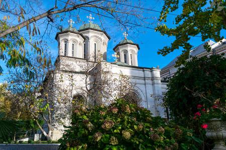 Bucharest, Romania - November 04, 2018: Radu Voda Monastery dedicated to Saint Nectarios of Aegina and The Holy Trinity situated in Bucharest, Romania.