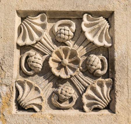 stone carved flower plant decorative ancient ornament Banco de Imagens