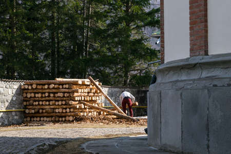 Unrecognizable man at work stacking up wood lumber cut trees to be used in construction