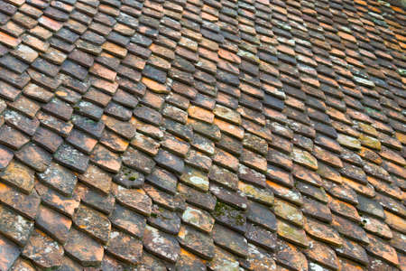 old ceramic roof tiles background pattern