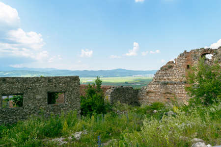 view of old ruins of the Rasnov Fortress deteriorated walls 写真素材
