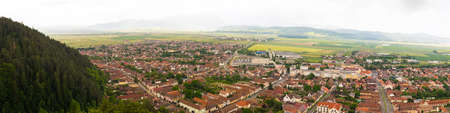 Panorama of Rasnov city seen from above. 写真素材