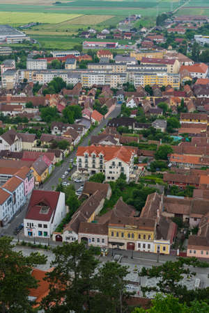 View of Rasnov city seen from above.