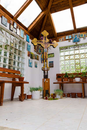 Brasov, Romania - June 16, 2019: Inside view from the small Chapel at Diham Chalet in the Bucegi Mountains.