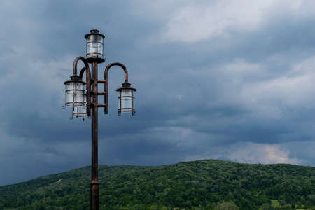 exterior modern light pole with natural background