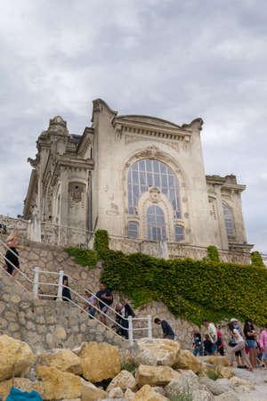 Constanta, Romania - August 14, 2019: Tourists visiting The Casino in Constanta, Romania. Redakční