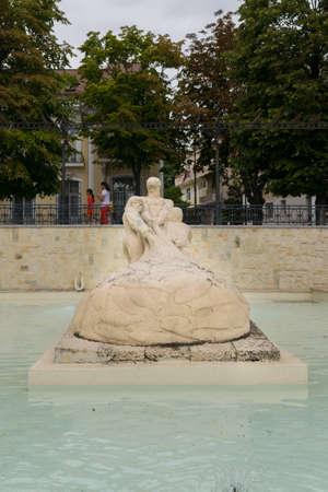 Constanta, Romania - August 14, 2019: Fisherman statue near Constanta Casino, Romania.