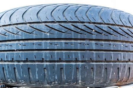 close-up of used car tire Reklamní fotografie