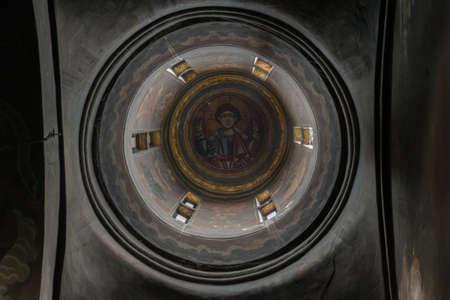 Brebu, Prahova, Romania - August 04, 2019: The fresco icon inside the tower of Brebu Monastery situated in Brebu, Prahova. Redakční