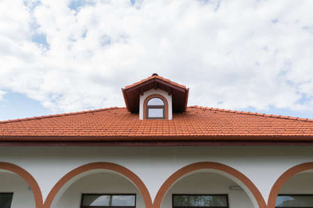 close-up detail of heat treated clay shingles rooftop