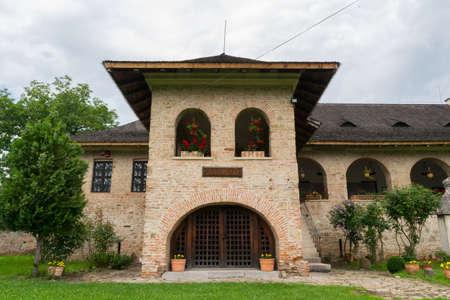 Brebu, Prahova, Romania - August 04, 2019: The Royal House Museum building from the Brebu Monastery complex situated in Brebu, Prahova.