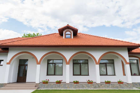 simple and beautiful house entrance facade with arcades