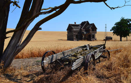 ranch house: Historic ranch house and wagon
