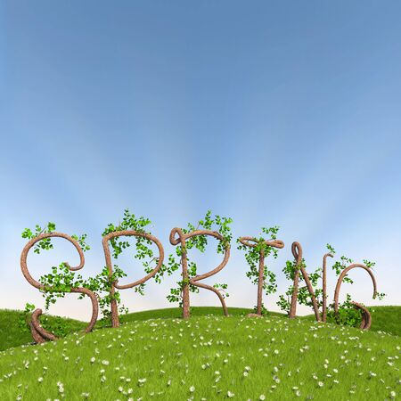 3d render of the word spring written in letters made of trees. photo