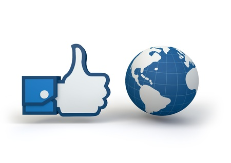 facebook: 3d render of a Facebook thumbs up hand next to a globe. Stock Photo
