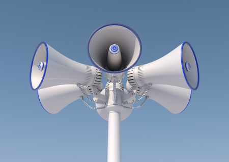 3d render of 6 loudspeakers in a pole photo