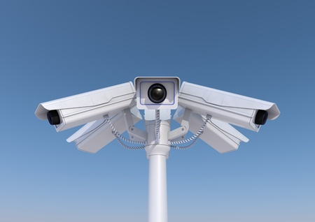 big brother spy: 3d render of 6 security cameras on a pole close up