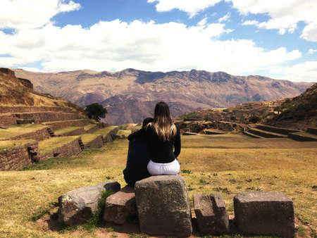 cusco: Beautiful Landscape View of construction Tipon Inca in Cusco in Peru