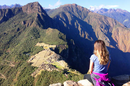 the lost city of the incas: Machu Picchua seen from the top of Huayna Picchu mountain in Cusco in Peru, known to the lost city of the Incas Stock Photo