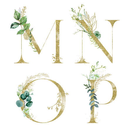 Gold Floral Alphabet Set - letters M, N, O, P with green botanic branch bouquet composition. Unique collection for wedding invites decoration and many other concept ideas.