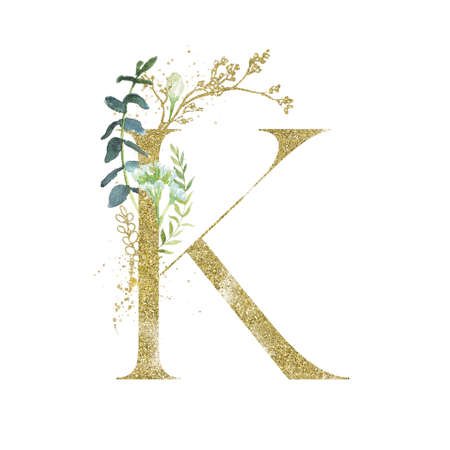 Gold Floral Alphabet - letter K with botanic branch bouquet composition.