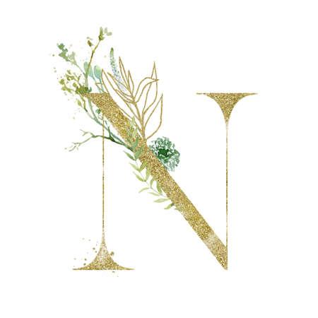 Gold Floral Alphabet - letter N with botanic branch bouquet composition.