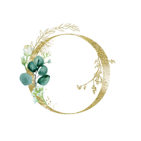 Gold Floral Alphabet - letter O with botanic branch bouquet composition. Imagens