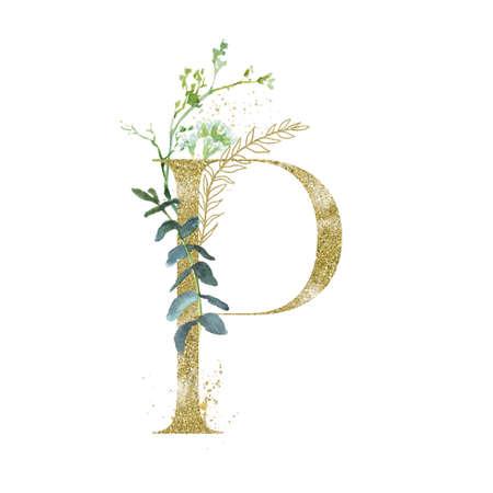 Gold Floral Alphabet - letter P with botanic branch bouquet composition. Banco de Imagens