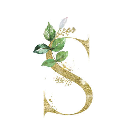 Gold Floral Alphabet - letter S with botanic branch bouquet composition. Unique collection for wedding invites decoration and other concept ideas. Stockfoto