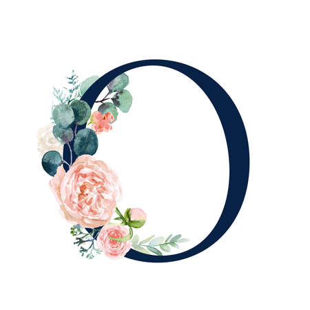 Floral Alphabet - navy color letter O with flowers bouquet composition. Unique collection for wedding invites decoration and many other concept ideas.