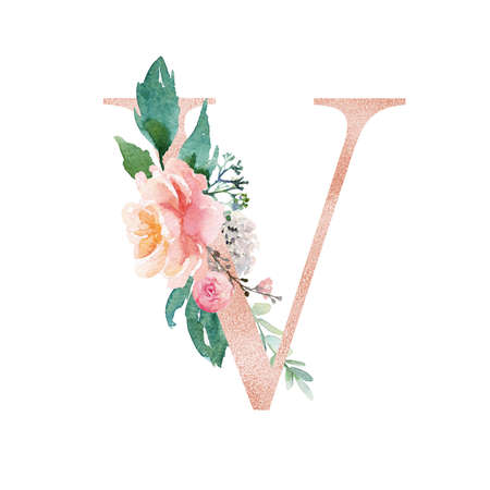 Floral Alphabet - blush / peach color letter V with flowers bouquet composition. Unique collection for wedding invites decoration and many other concept ideas.