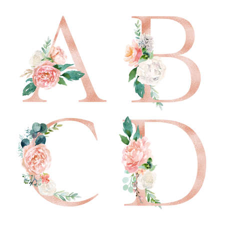 Floral Alphabet Set - letters A, B, C, D, with flowers bouquet composition. Unique collection for wedding invites decoration and many other concept ideas.