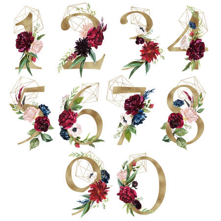 Floral Number Set - digits 1, 2, 3, 4, 5, 6, 7, 8, 9, with flowers bouquet composition, delicate gold geometric shape crystal. Unique collection for wedding invites decoration & other concept ideas.