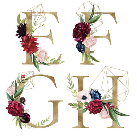 Floral Alphabet Set - letters E, F, G, H, with flowers bouquet composition and delicate gold geometric shape crystal. Unique collection for wedding invites decoration and many other concept ideas.