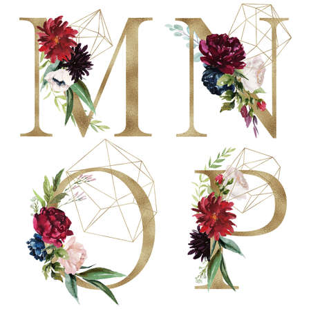 Floral Alphabet Set - letters M, N, O, P, with flowers bouquet composition and delicate gold geometric shape crystal. Unique collection for wedding invites decoration and many other concept ideas.
