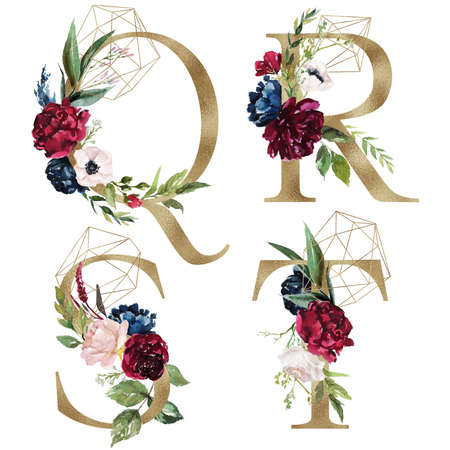Floral Alphabet Set - letters Q, R, S, T, with flowers bouquet composition and delicate gold geometric shape crystal. Unique collection for wedding invites decoration and many other concept ideas. Stockfoto
