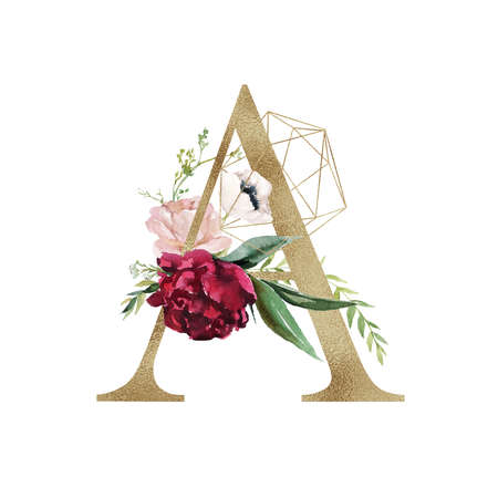 Floral Alphabet - letter A with flowers bouquet composition and delicate gold geometric shape crystal. Unique collection for wedding invites decoration and many other concept ideas. Foto de archivo
