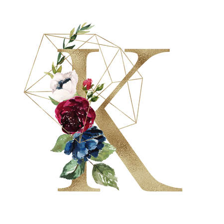 Floral Alphabet - letter K with flowers bouquet composition and delicate gold geometric shape crystal. Unique collection for wedding invites decoration and many other concept ideas.