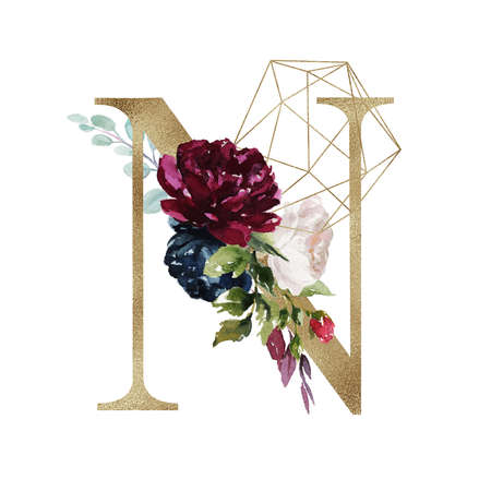 Floral Alphabet - letter N with flowers bouquet composition and delicate gold geometric shape crystal. Unique collection for wedding invites decoration and many other concept ideas.
