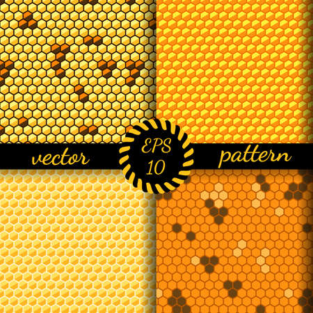 combs: Seamless vector pattern of honey cells, combs. Set of four 4 patterns. Illustration