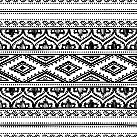 lace fabric: Seamless ethnic pattern. Black and white vector illustration.