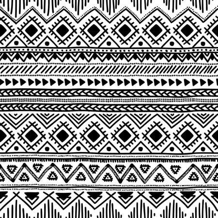 tribales: Modelo étnico inconsútil. Ilustración vectorial blanco y negro.