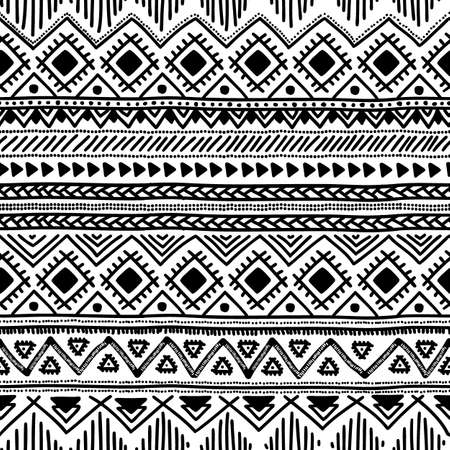 ethnic pattern: Seamless ethnic pattern. Black and white vector illustration.