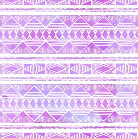 Seamless antecedentes étnicos. Patrón geométrico púrpura. Dibujo a mano. Tribal. Ilustración del vector. Foto de archivo - 43691561