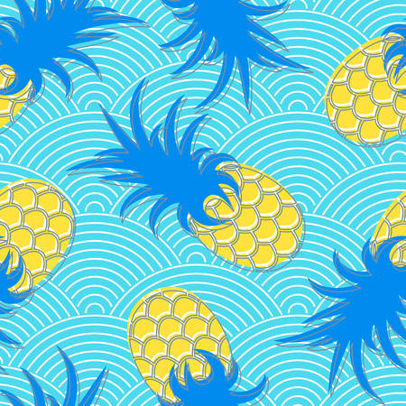 water waves: Pineapples. Seamless geometric pattern. Exotic fruits in water. Summer background. Sea waves. Vector illustration.