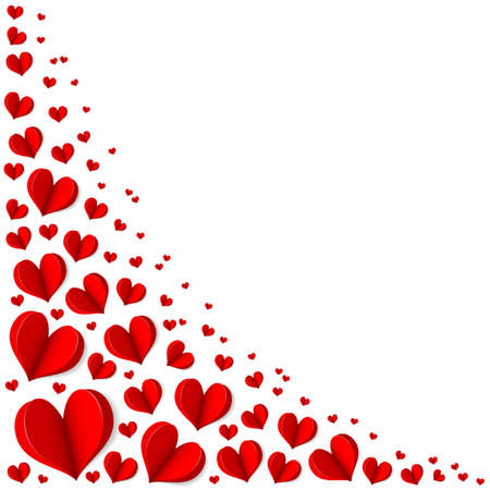 Frame of red hearts on Valentine's Day. Empty space for your text. White background. Origami. Elegant vector illustration.