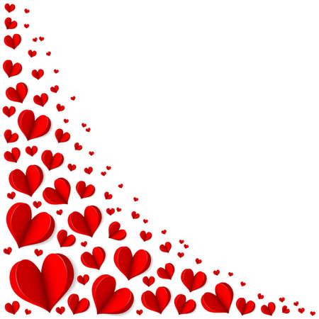 marco cumpleaños: Marco de corazones rojos en el Día de San Valentín. El espacio vacío para el texto. Fondo blanco. Origami. Ilustración vectorial elegante.