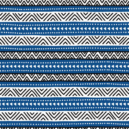 black and blue: Ethnic seamless pattern hand-drawn. Black, blue, and white colors.